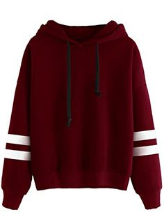 SweatyRocks Sweatshirt Girls Pullover Fleece Drop Shoulder Striped Hoodie For Girl Burgundy One Size *** Read more  at the image link.Note:It is affiliate link to Amazon.