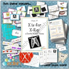 X is for X-Ray (Dental Health) Themed Lesson Plans (one week) from edlah Preschool Resources  on TeachersNotebook.com (60 pages)  - X is for X-Ray! It is so hard to find good X Lesson Plans. I love that this is a week of X plans already planned for me! This looks like a lot of fun!
