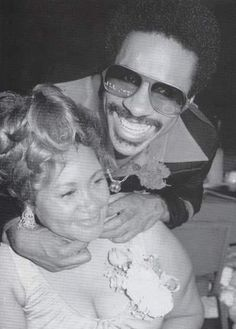 Stevie Wonder and his mother.