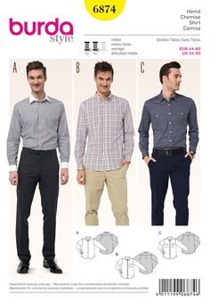 Burda Pattern: BD6874 Mens' Shirts — jaycotts.co.uk - Sewing Supplies