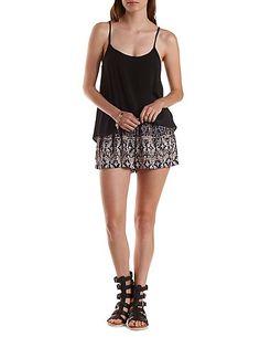 Smocked Waist Tribal Print Shorts: Charlotte Russe #shorts