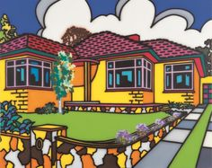 Family home: Suburban exterior by Howard Arkley, synthetic polymer paint on canvas, x cm, Monash University Museum of Art, Melbourne Purchased © The Estate of Howard Arkley. Licensed by Kalli Rolfe Contemporary Art Magnum Opus, Mondrian, Howard Arkley, Musica Punk, Elements Of Design, Australian Artists, Australian Painters, Sculpture, Urban Landscape