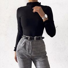 A black belt and a Steve Jobs turtle neck // 🔳🔲🗝️ College Outfits, Office Outfits, Cool Outfits, Classy Outfits, Pretty Outfits, Winter Outfits, Work Fashion, 90s Fashion, Fashion Outfits