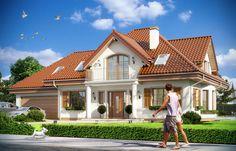 Dom o urozmaiconej bryle został przykryty wielospadowym dachem, z którego połaci wychodzą lukarny. W projekcie zwraca uwagę szczególnie frontowa lukarna z balkonem wspartym na ozdobnych filarach.