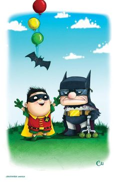 Batman & Robin in Up style by Christopher Uminga
