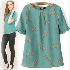 01Q1219  New Fashion Ladies' Animal deer print blouse O neck short sleeve Shirt casual slim brand designer tops
