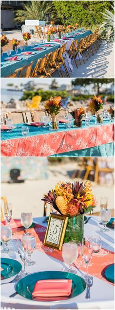 Beach wedding reception, coral napkins and table runners, teal plates, vibrant orange and yellow centerpieces, table numbers in gold frames, bamboo chairs in the sand, tropical // Twist of Fate Imagery