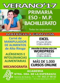 ¡PARA ESTE VERANO! - ¡Clases particulares en todos los niveles! (PRIMARIA, ESO, BACHILLER, IDIOMAS, INFORMÁTICA, ETC) - ¡Nuevos cursos! (EXCEL, WORDPRESS, ETC) - ¡Mecanografía! - ¡Más de 1.000 cursos online! Y mucho más. www.acesperanza.com #malaga