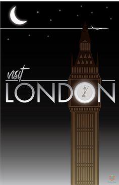 Visit London London Poster, London Art, London Pubs, England Uk, London England, Beautiful London, Travel Illustration, London Calling, Vintage Travel Posters