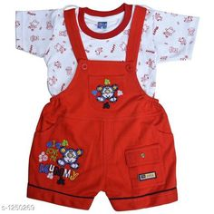 Dungarees Elegant Printed Kid's Clothing Set Fabric: Cotton Hosiery Sleeves: Half Sleeves Are Included Size: Age Group (0 Months - 6 Months) - Chest-12 inShoulder-2.5 inLength-14 inSleeve Length-3 inWaist-8 in Age Group (6 Months - 12 Months) - Chest-14 inShoulder-2.5 inLength-15 inSleeve Length-3.5 inWaist-10 in Age Group (12 Months - 18 Months) - Chest-16 inShoulder-3 inLength-16 inSleeve Length-4 inWaist-12 in Age Group (18 Months - 24 Months) - Chest-18 inShoulder-3 inLength-17 inSleeve Length-4.5 inWaist-14 in Type: Stitched Description: It Has 1 Pieces Of Kid's Top & 1 Pieces Of Kid's Bottom Work: Printed Country of Origin: India Sizes Available: 0-6 Months, 6-12 Months, 12-18 Months, 18-24 Months   Catalog Rating: ★4.3 (10770)  Catalog Name: Cute Elegant Printed Kids Clothing Sets Vol 4 CatalogID_158187 C62-SC1152 Code: 143-1250269-528