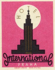 vintage matchbook cover: Hotel International Praha, via Max Friedrich Hartmann on flickr