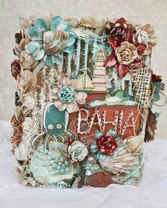 larissa albernaz Mini Scrapbook Albums, Mini Albums, Ocean Room, Covered Boxes, Mini Books, Scrapbooks, Paper Crafts, My Favorite Things, Creative