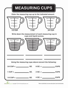 Help your child learn the basics of liquid measurement with this worksheet, and then he can try helping out in the kitchen for a hands-on lesson!