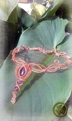 collier reine des elfes en cuivre et améthyste. par zaboutick