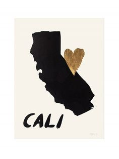 Home Is Where the Heart Is CALIFORNIA Gold Leaf Print by RocketInk, $45.00