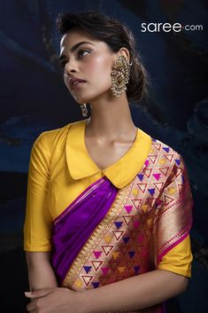Here are some beautiful unique collar neck designs for blouses, dresses and kurtis for you to choose from this wide range of collar neck patterns. Saree Blouse Neck Designs, Fancy Blouse Designs, Designer Blouse Patterns, Design Patterns, Stylish Blouse Design, Collor, Nyc, Beautiful Blouses, Collar Blouse