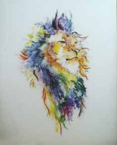 Watercolor lion on Yupo