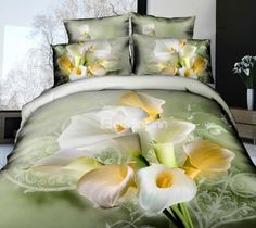 New Arrival Cotton High Quality Fresh Flowers Reative Print 4 Piece Bedding Sets/Duvet Cover Sets 3d Bedding Sets, Bedding Sets Online, Duvet Sets, Duvet Cover Sets, Cama Floral, Floral Bedding, Comforter Cover, Bedroom Sets, Master Bedroom