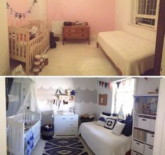 Nautical baby room, nautical boys bedroom, baby boy bedroom ideas, nautical baby room idea, blue baby room, blue baby boys room, how to decorate a baby room, anchors in baby room, navy and white baby room, scatter cushions, boat mirror, nautical decor ideas, baby room decor ideas