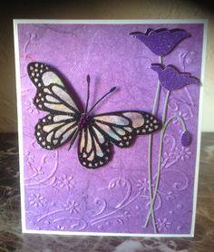 mb prim poppy die, lunette & oriel butterfly dies, darice embossing folder.