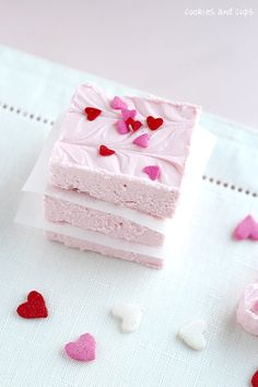 STRAWBERRY 2 INGREDIENT FUDGE  Ingredients    1 (16 oz) can of strawberry frosting  1 12 oz bag of white chocolate chips