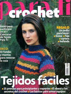 Para Tí Crochet Nº 01 - Melina Crochet - Picasa Webalbumok Lots of patterns in Spanish. Crochet Cross, Crochet Chart, Love Crochet, Knit Crochet, Vogue Knitting, Knitting Books, Knitting Magazine, Crochet Magazine, Crochet Skirts