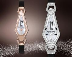 From left to right:  Joséphine watch in pink gold, paved with diamonds, natural mother-of-pearl dial, black satin strap    Joséphine watch in white gold, paved with diamonds, natural mother-of-pearl dial , black satin strap  Swiss quartz movement