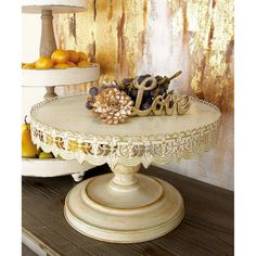 Whether it's a rustic wedding or a countryside gathering, the DecMode Distressed White Metal Cake Stand creates an authentic farmhouse feel. Metal Cake Stand, Pedestal Cake Stand, Wedding Cake Stands, Wedding Cakes, Pattern Draping, Tiered Stand, Tiered Server, Metal Trim, Round Cakes
