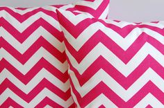 """Throw pillow covers 18"""" x 18"""" set of two Candy Pink chevron zig zag. $30.00, via Etsy."""