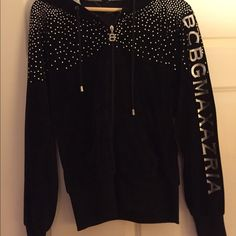BCBG sweatshirt BCBG MAXAZRIA black sweatshirt with rhinestones. With a beautiful satin hood with drawstrings. Never worn! BCBGMaxAzria Tops Sweatshirts & Hoodies