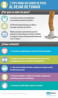 #Infografía ¿Cómo dejar de #fumar y evitar la subida de peso?
