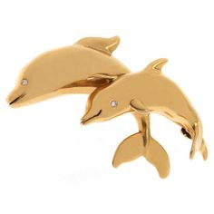 Jewelry & Watches Earnest Sweet Gold Tone Dolphin Brooch With An Imitation Pearl Pins & Brooches