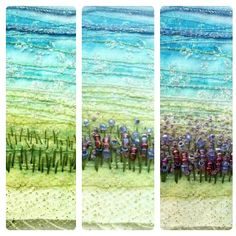 Stitchmikki- showing work in progress for my latest fabric art - lavender landscape - hand embroidery and hand beading.