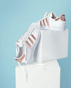 Superstar Original Fashion Sneaker, White/Rose Gold