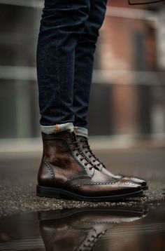| shop online | best online shopping | shopping spree Winter Dressing For Men, Mens Wingtip Boots, Mens Boots Fashion, Fashion Men, Brown Leather Shoes, Dress With Boots, Swagg, Shoe Boots, Burberry Men