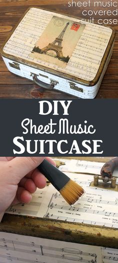 Make a DIY Sheet Music Covered Suitcase! Such a pretty Paris themed Home Decor project by Gina Luker Graphics Fairy, Dollar Tree Storage Bins, Sheet Music Crafts, Crafts To Make, Diy Crafts, Diy Wood Wall, Diy Blanket Ladder, Diy Headboards, Vintage Diy