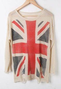 UK Flag Distressed Jumper