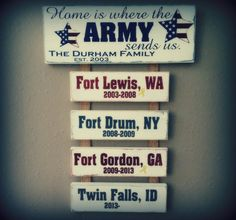 Home is where the Army, Navy, Marines, Air Force sends us plaque with Station names/dates attached. 100% custom made to your liking.