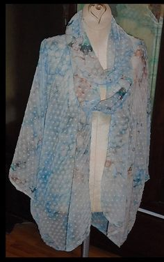 blue and rust ice dyed kimono festival wear by customecostumer