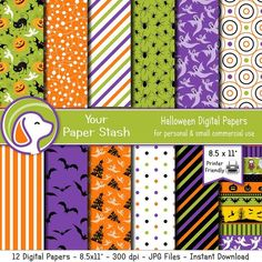 Halloween Digital Papers & Backgrounds with Haunted Houses, Ghosts, Bats, Spiders, Pumpkins, Scrapbooking
