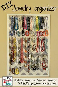 diy jewelry organizer made of fabric | DIY Jewelry Organizer (day 15 of 31 days of Pinterest: Pinned to Done ...