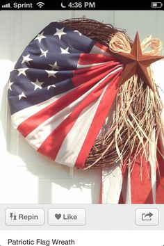 American flag wreath - I love this so much and would love to do something similar, but I'm afraid someone would get offended at the flag being displayed this way...