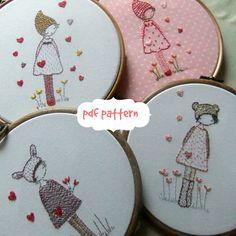 Three girls in hats embroidery pattern PDF von LiliPopo auf Etsy