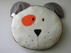 Pillow Baby Kids Boys/Girls throw pillow by iwantedtowonder (Accessories, toddler, children, bedroom, okid, iwtw, gift, round, white, DOG, pet, gingham, room decor, dots)