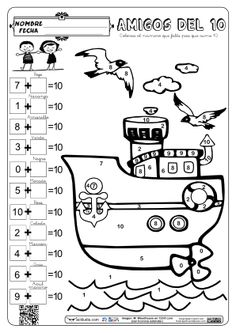 Colorea con los amigos del 10 10's Friends Math 2, 1st Grade Math, Math Games, First Grade, Learning Activities, School Worksheets, Kindergarten Worksheets, Math Sheets, Kids English
