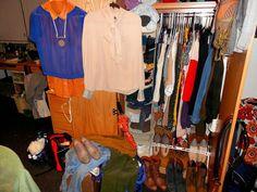 Full dorm closet shot, organization at its finest, too bad spring break starts in a week haha