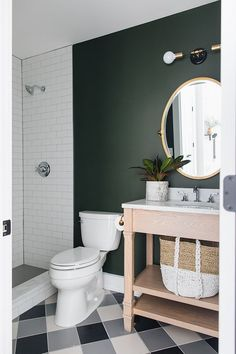 The floor and wall color! Sherwin Williams Ripe Olive SW 6209 Sherwin Williams Ripe Olive SW 6209 p Green Bathroom Paint, Bathroom Wall Colors, Bathroom Interior, Modern Bathroom Paint, Master Bathroom, Boho Bathroom, Bathroom Art, Olive Green Bathrooms, Dark Bathrooms