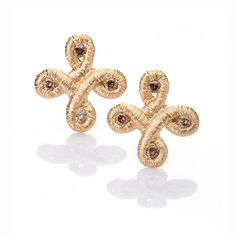 www.ORRO.co.uk - Brigitte Adolph - Rose Gold & Diamond Pique Dame Stud Earrings - ORRO Contemporary Jewellery Glasgow...