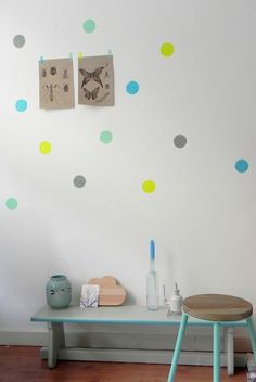 Chez Chouke: masking tape wall dots. Cathy says: I was just thinking of big round dots as a way to decorate a child's room.