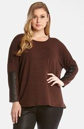 Karen Kane Faux Leather Trim Sweater (Plus Size)